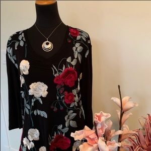 Tribal Embroidered floral top size Medium